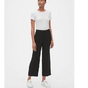 NWT Gap High Rise Wide Leg Crop Pants 0P Black c15